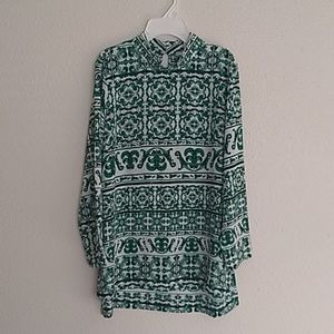 H&M Tunic Green White Pattern Stand Up Collar 10